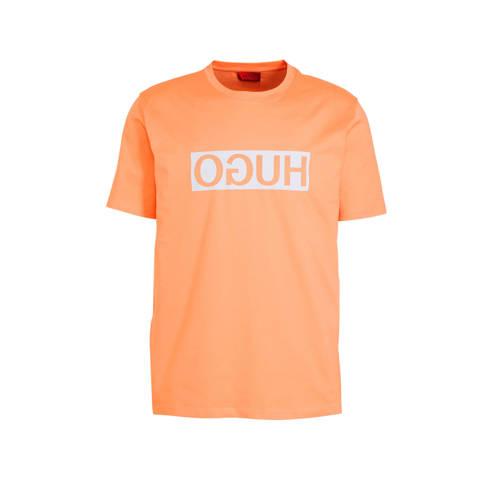 HUGO T-shirt met logo oranje
