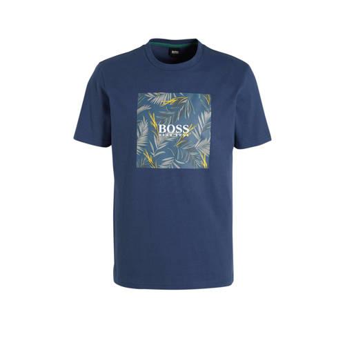 BOSS Casual T-shirt met printopdruk donkerblauw
