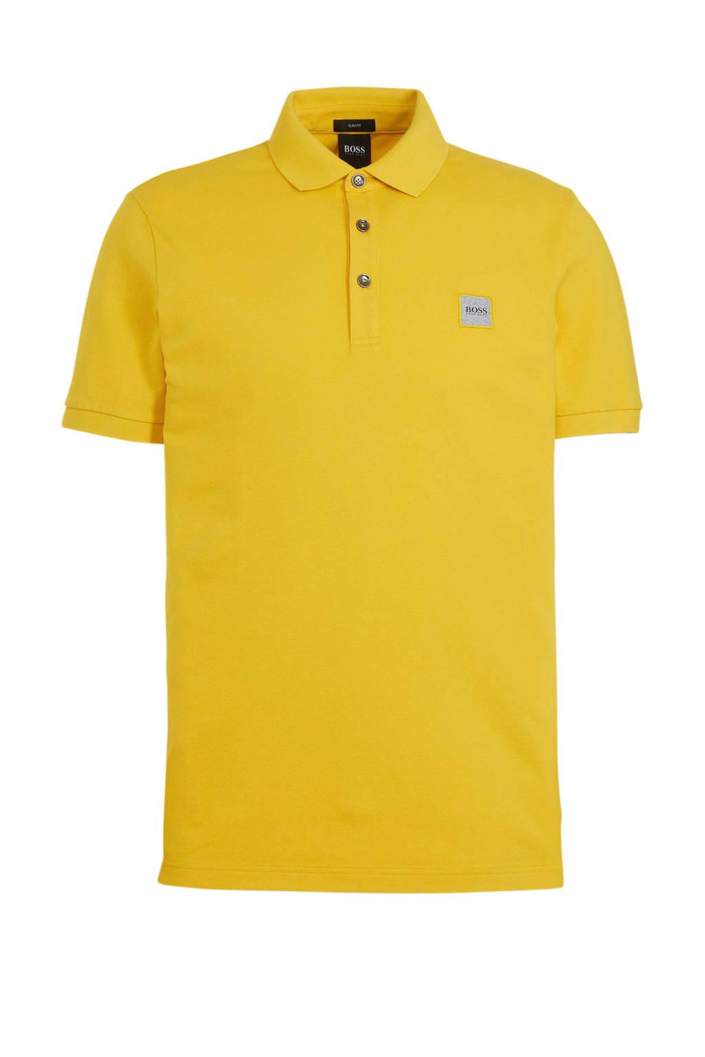 BOSS Casual slim fit polo Passenger medium yellow, Medium Yellow