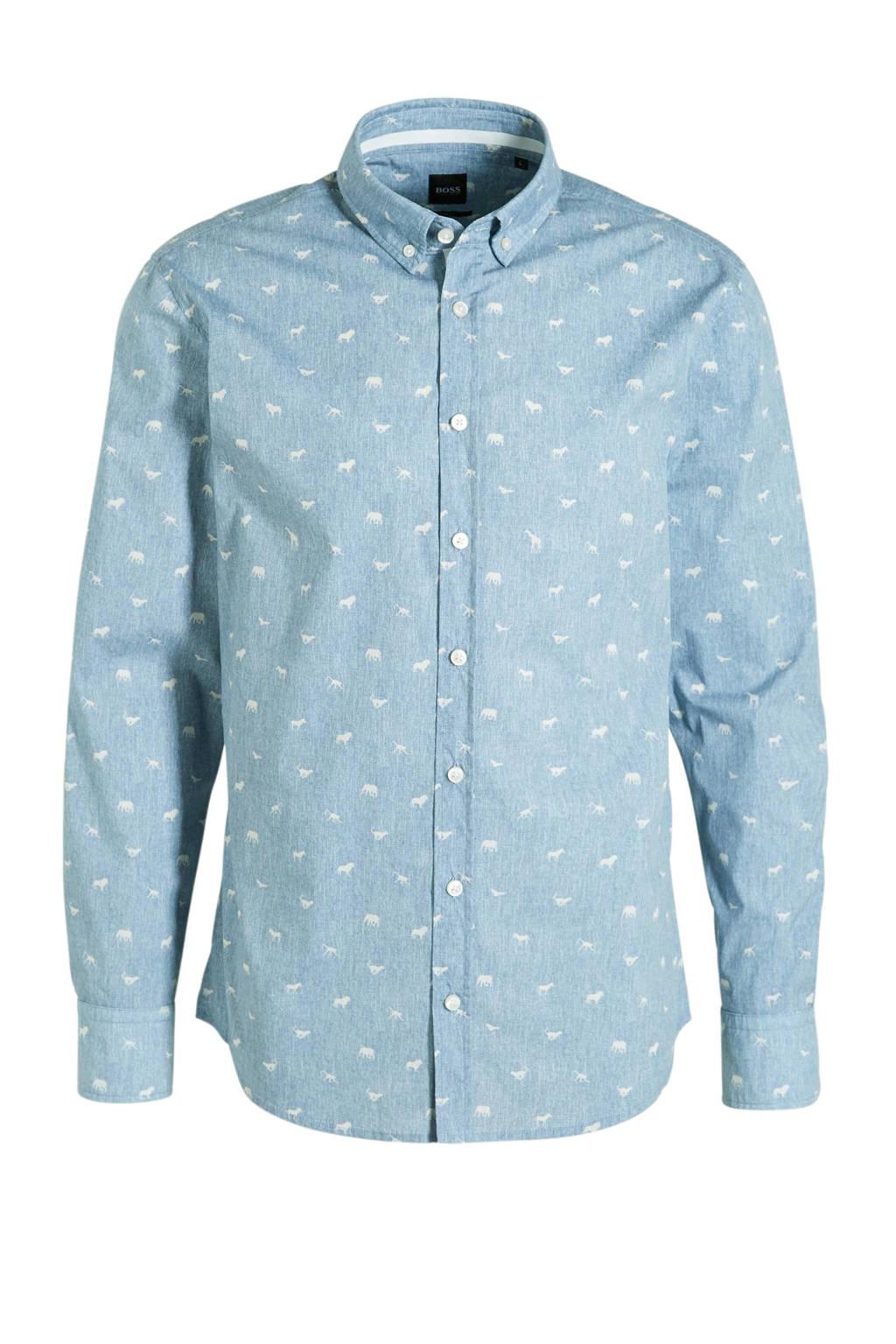 BOSS Casual slim fit overhemd met all over print blauw, Blauw