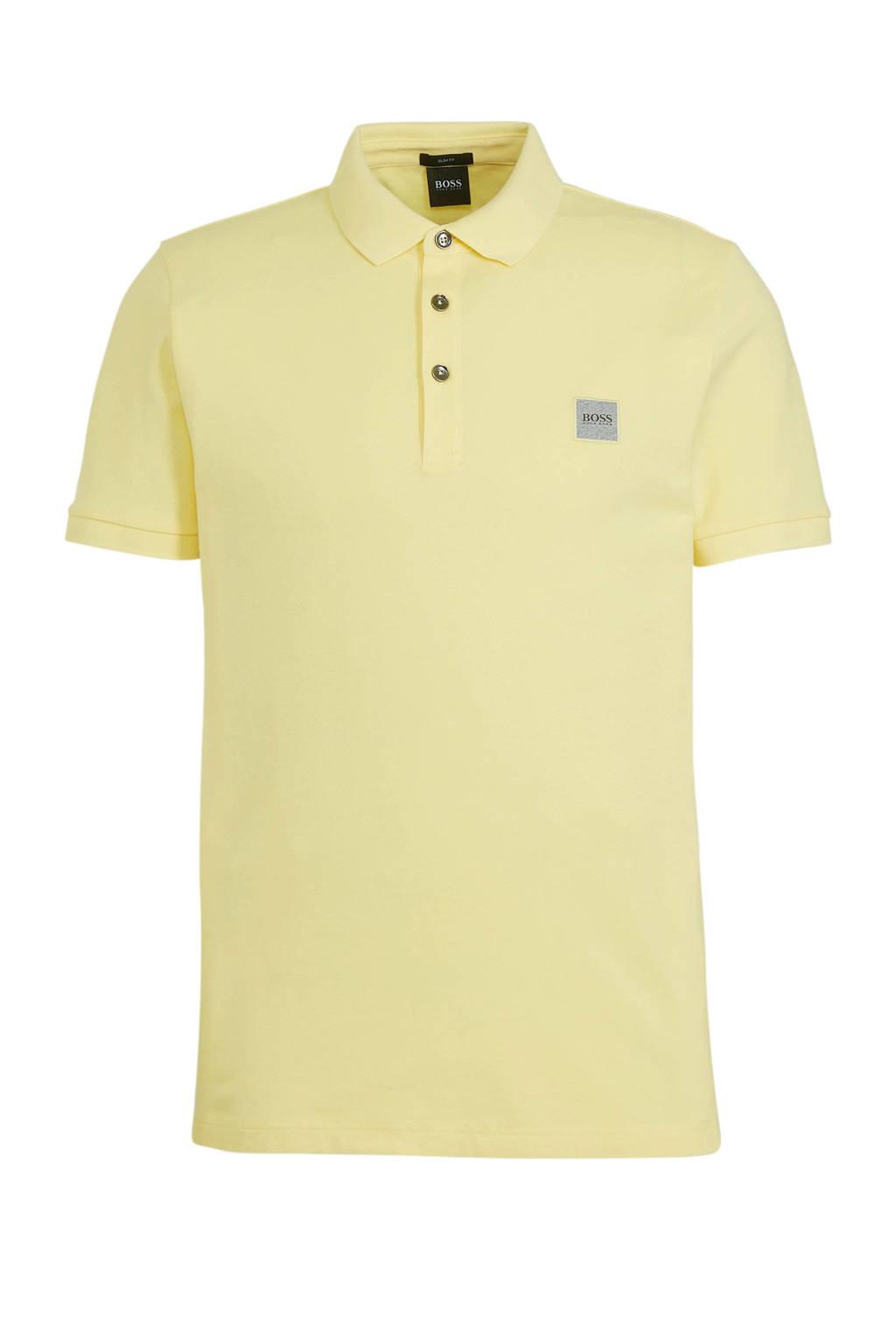 BOSS Casual slim fit polo Passenger pastel yellow, Pastel Yellow