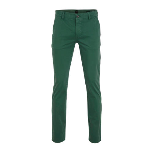 BOSS Casual slim fit pantalon donkergroen