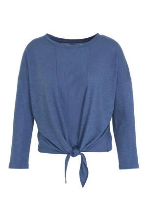 top met knoopdetail blauw