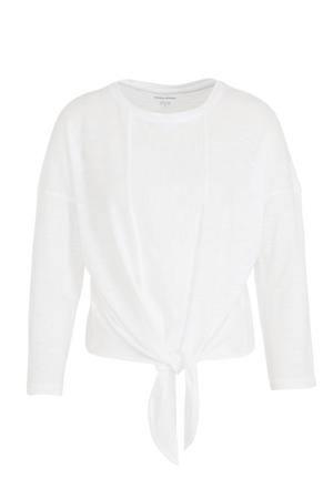 top met knoopdetail wit
