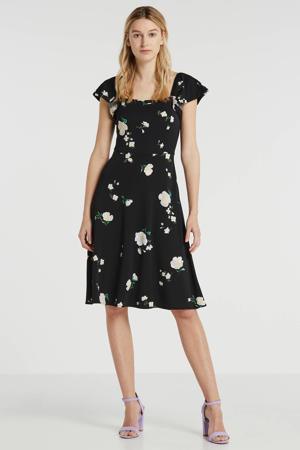 gebloemde jurk zwart