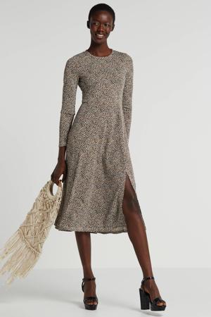 jurk met panterprint bruin/beige