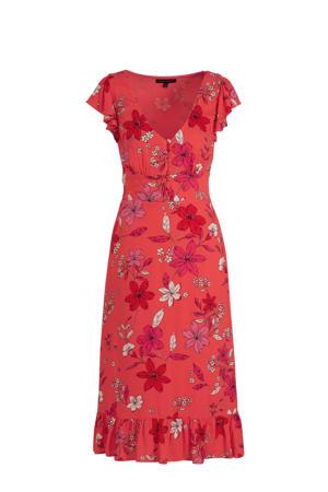 gebloemde A-lijn jurk rood