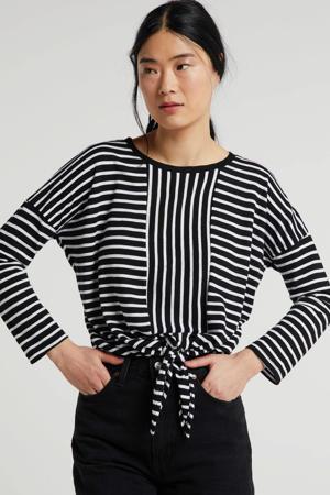 gestreepte top met knoopdetail zwart/wit