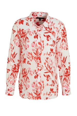 blouse met all over print rood/wit