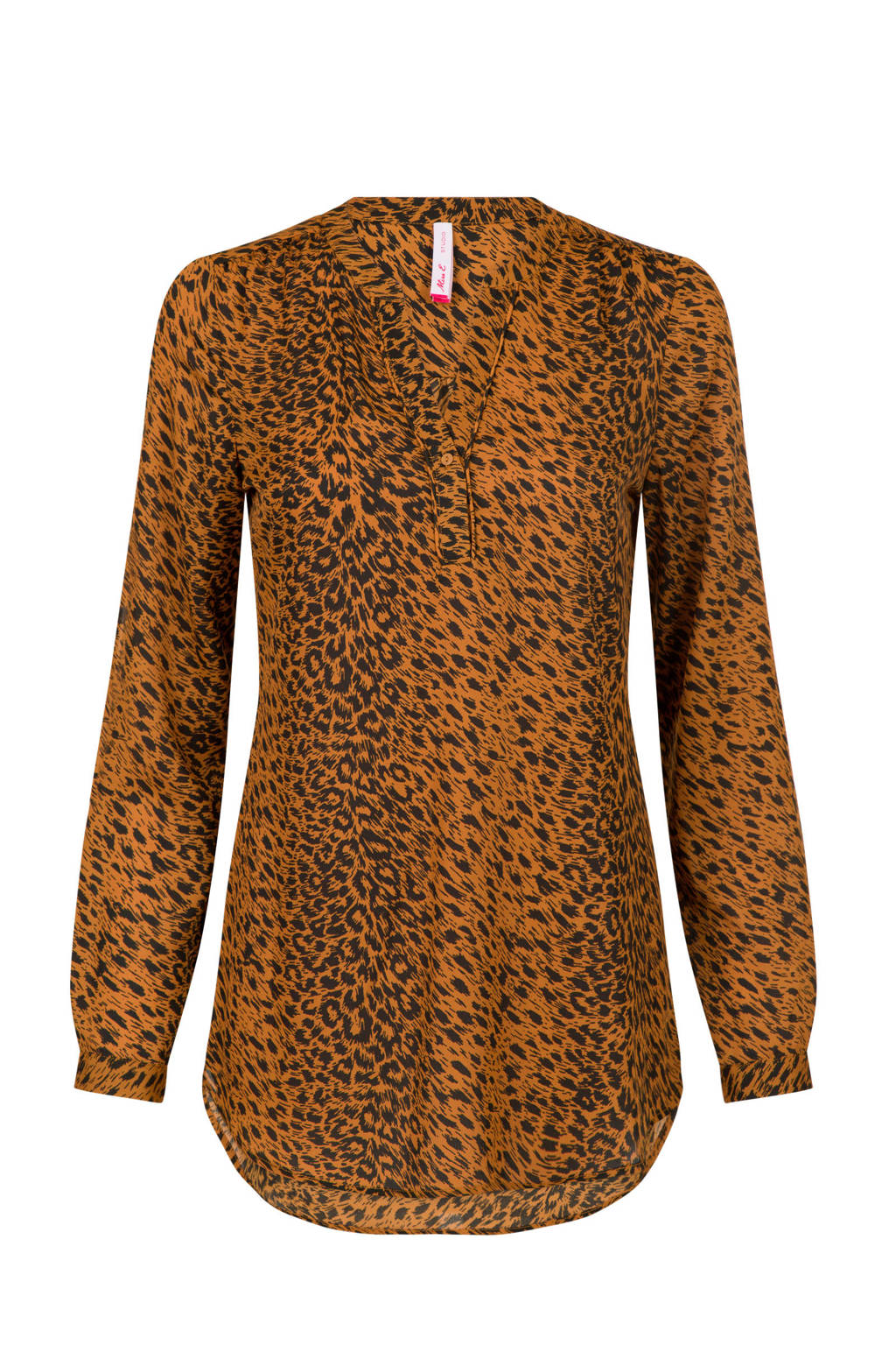 Miss Etam Regulier top met all over print bruin, Bruin