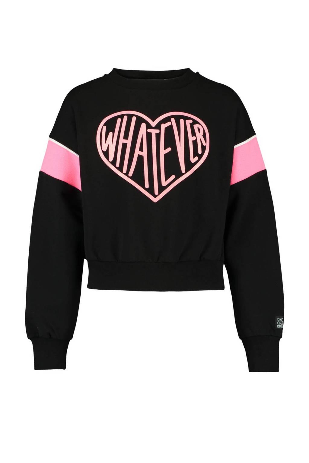 CoolCat Junior cropped sweater Stella met printopdruk zwart/roze, Zwart/roze