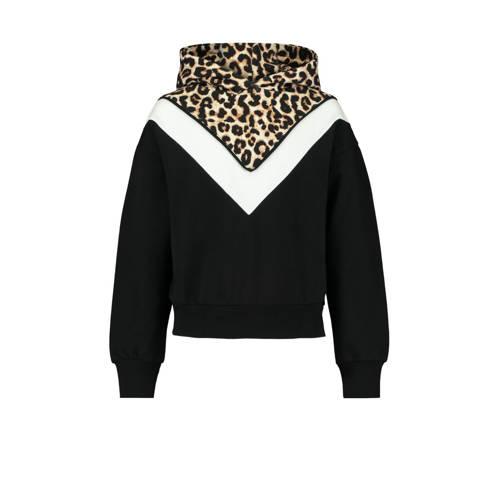 CoolCat Junior hoodie Sacha zwart/wit/bruin