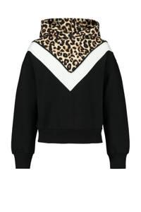 CoolCat Junior hoodie Sacha zwart/wit/bruin, Zwart/wit/bruin