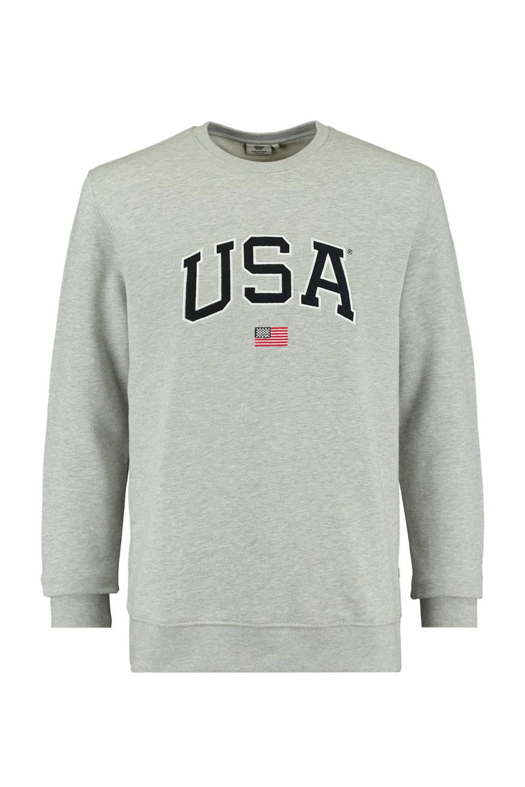 America Today sweater met logo mid grey melange