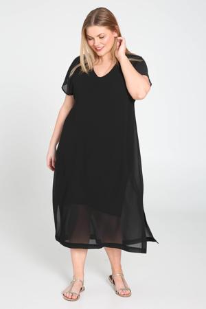 mesh T-shirtjurk zwart