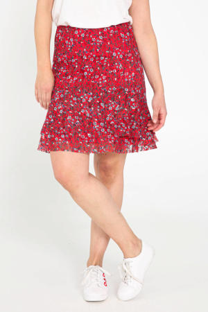 gebloemde semi-transparante rok rood/wit/donkerblauw