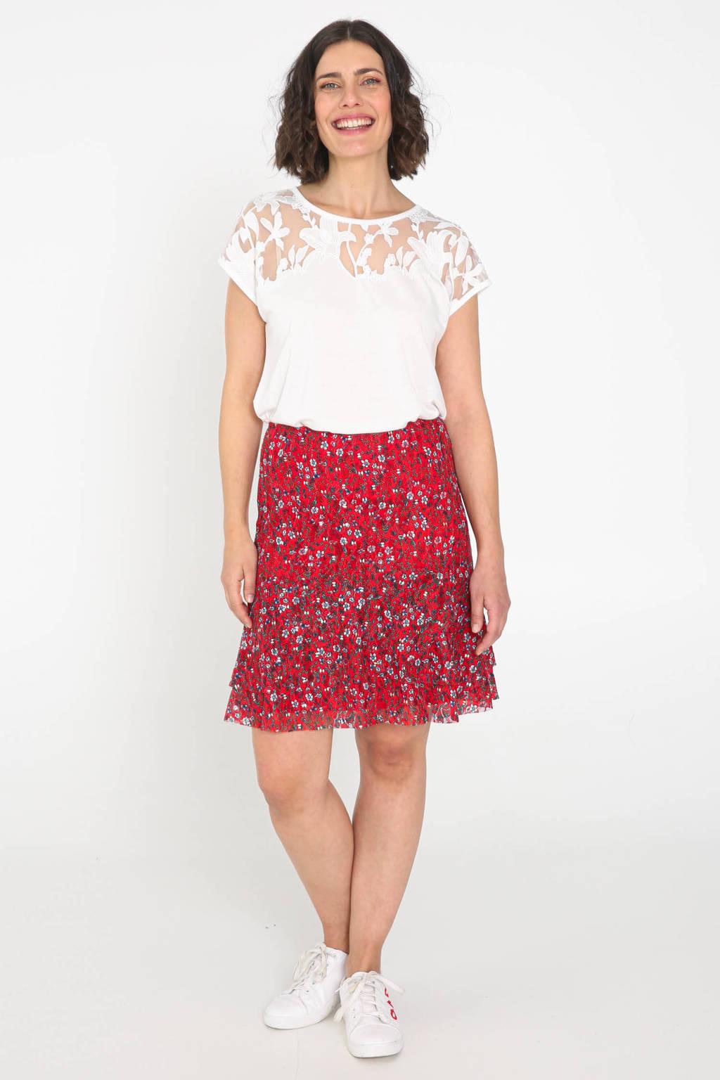 Cassis gebloemde semi-transparante rok rood/wit/donkerblauw, Rood/wit/donkerblauw