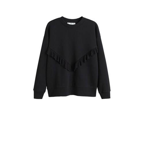 Mango sweater met ruches zwart
