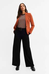 WE Fashion loose fit broek met ceintuur zwart, Black Uni