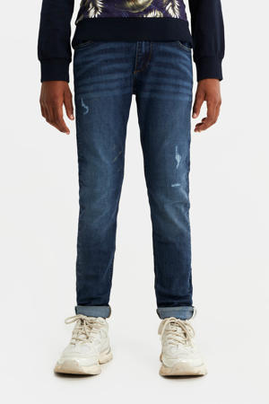 slim fit jeans Levi Dragon met slijtage dark denim