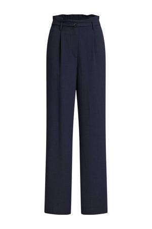 high waist loose fit broek grijsblauw
