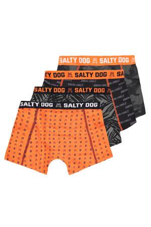 boxershort Salty Dog - set van 4 antraciet/oranje