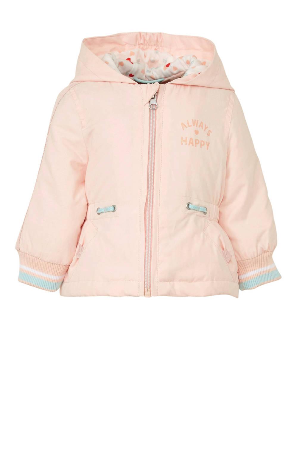 C&A Baby Club tussenjas met tekst roze/mintgroen/wit, Roze/mintgroen/wit