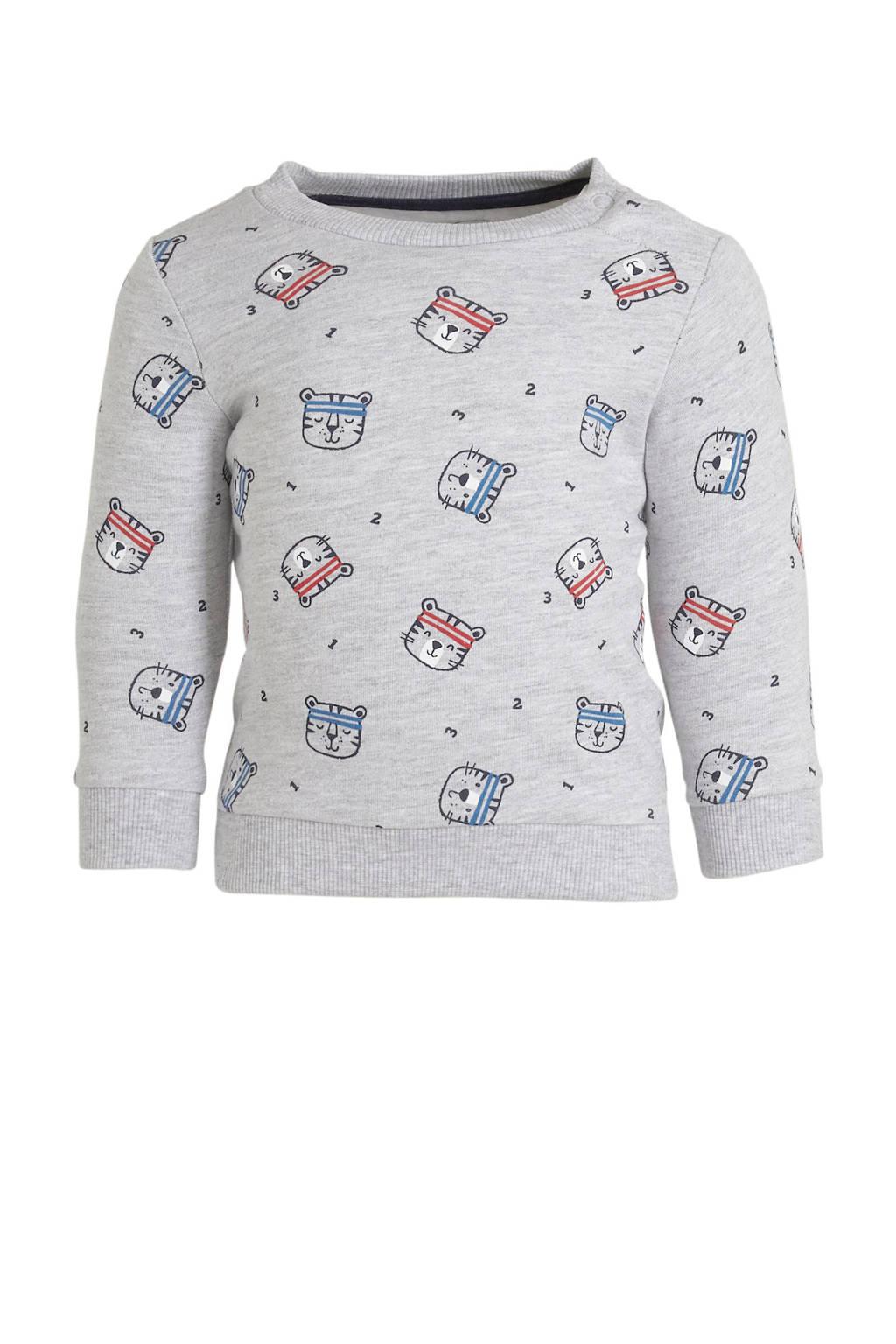 C&A Baby Club sweater met all over print grijs melange/zwart/donkerblauw, Grijs melange/zwart/donkerblauw