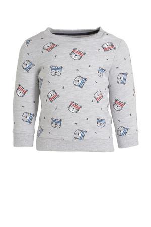 sweater met all over print grijs melange/zwart/donkerblauw
