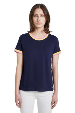 T-shirt jersey tee with contrast neck met contrastbies donkerblauw