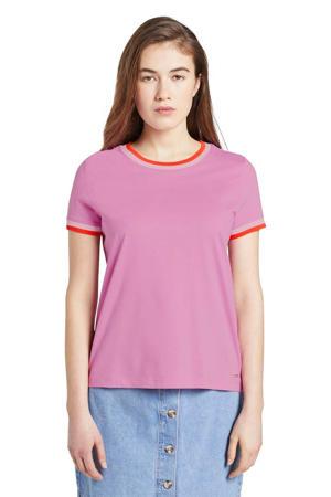 T-shirt jersey tee with contrast neck met contrastbies roze