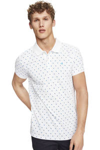 Scotch & Soda slim fit polo met all over print wit, Wit