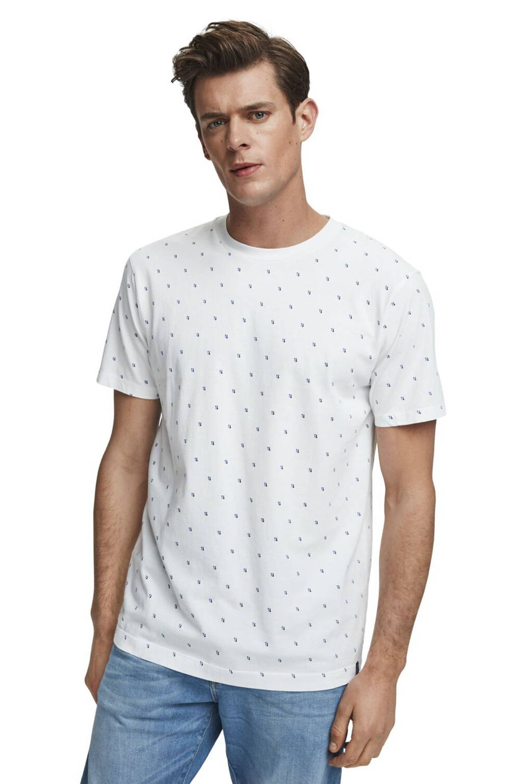 Scotch & Soda T-shirt met all over print wit, Wit