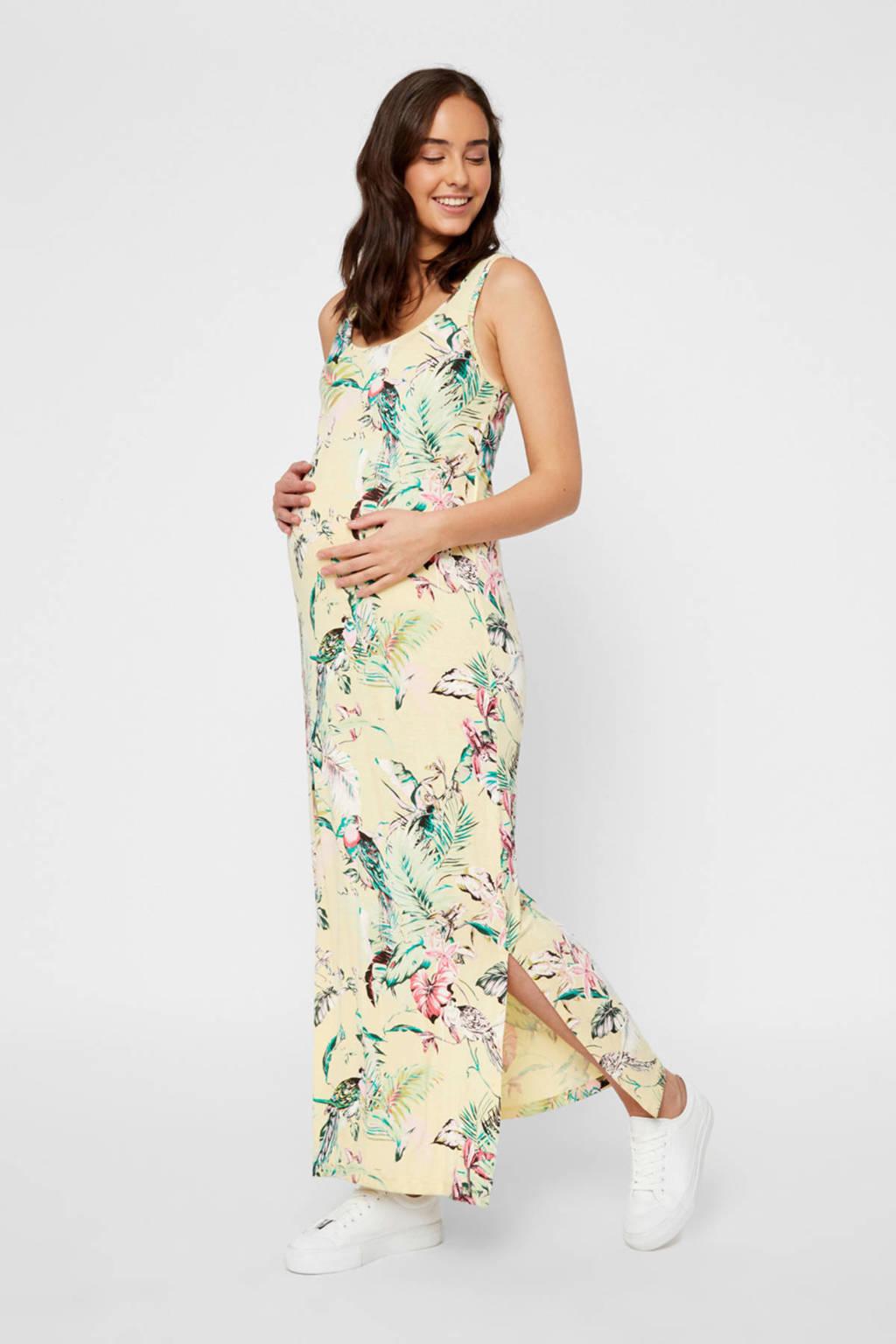 MAMALICIOUS zwangerschapsjurk Tropicana met all over print geel/groen/roze, Geel/groen/roze