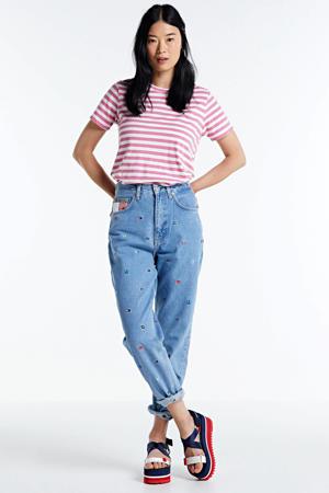high waist mom jeans met logo en borduursels light blue