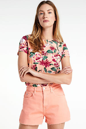 high waist jeans short met logo oranje