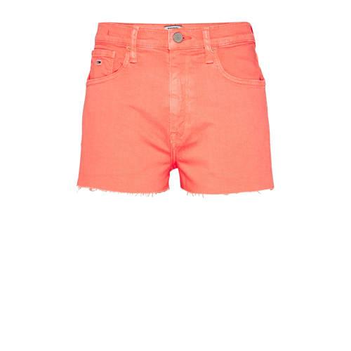 Tommy Jeans high waist jeans short met logo oranje