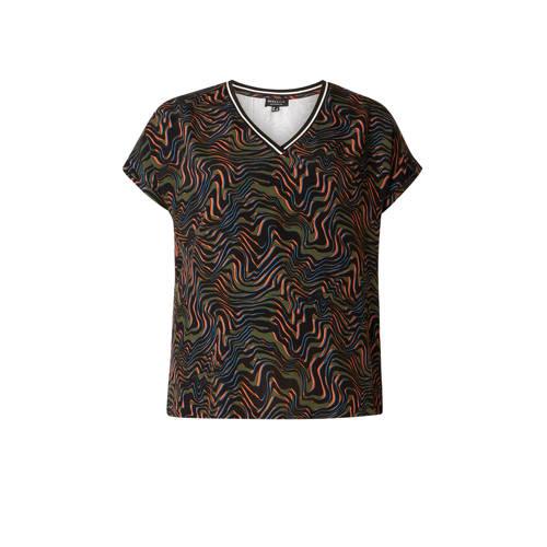IVY BELLA T-shirt met contrastbies multi
