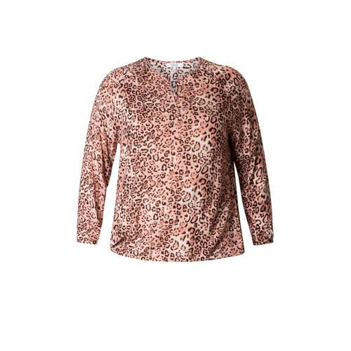 IVY BELLA top met panterprint roze