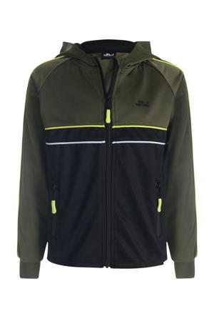 vest met contrastbies zwart/army groen/geel