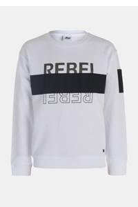 Mitch sweater met tekst wit/antraciet/zwart, Wit/antraciet/zwart