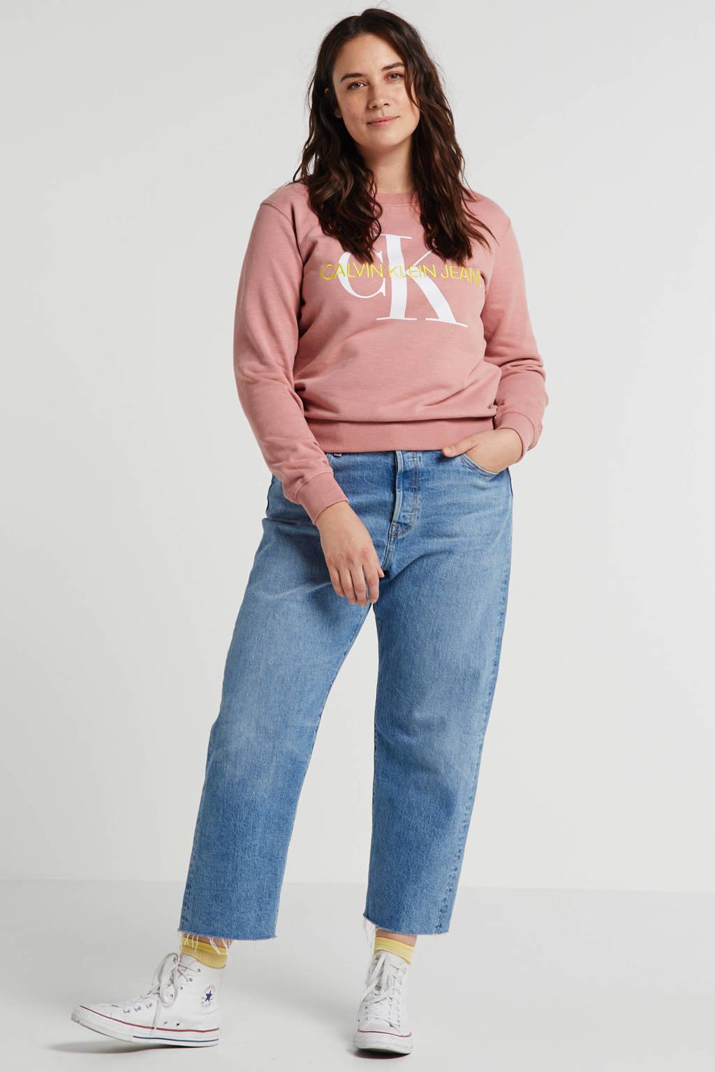 CALVIN KLEIN Plus sweater met logo oudroze, Oudroze