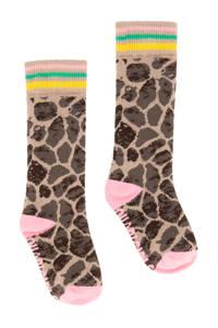Quapi panterprint sokken bruin, Bruin