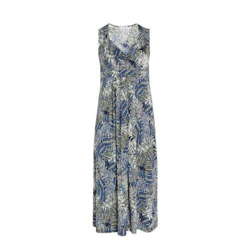 Paprika jersey jurk met bladprint kaki