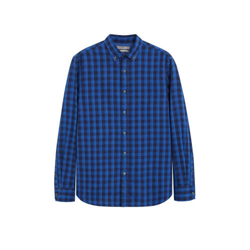 Mango Man geruit slim fit overhemd middenblauw