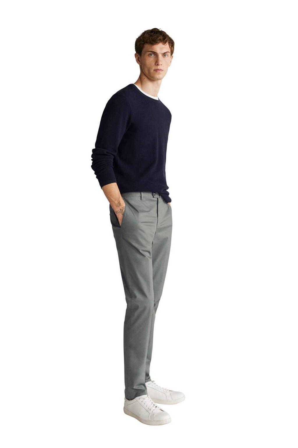 Mango Man slim fit pantalon lichtbeige, Grijs