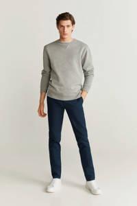 Mango Man slim fit pantalon lichtbeige, Marineblauw