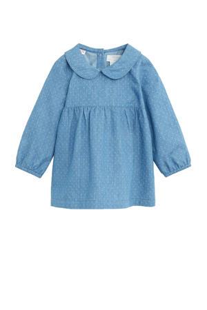 baby jurk met broekje met stipdessin blauw