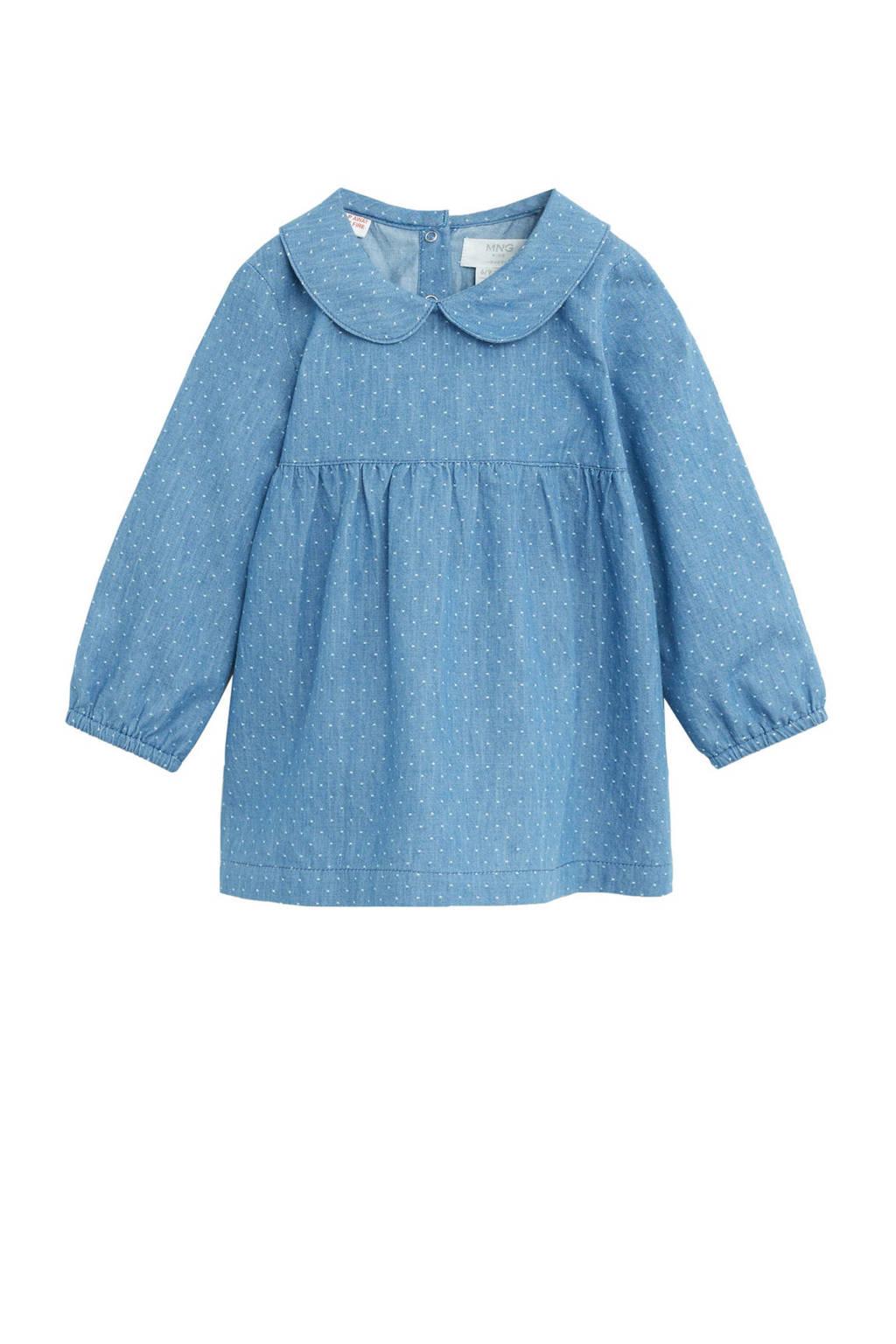 Mango Kids baby spijkerjurk met broekje met stipdessin blauw, Blauw