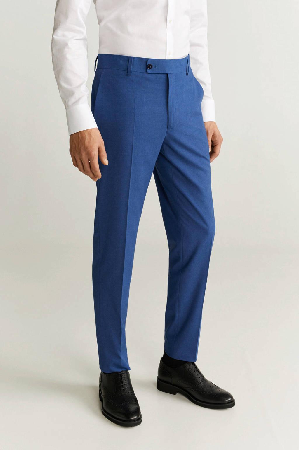 Mango Man slim fit pantalon middenblauw